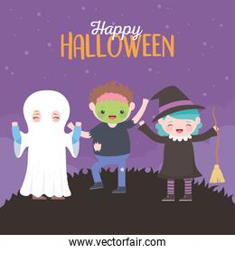 happy halloween, mummy witch zombie kids costume character, trick or treat party celebration