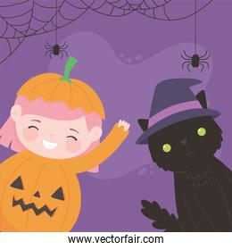 happy halloween, pumpkin girl with cat costume character trick or treat, party celebration