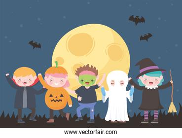 happy halloween, costume characters mummy pumpkin ghost dracula witch zombie, trick or treat, party celebration