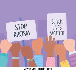 black lives matter banner for protest, protestors hold placards and raise their fists, awareness campaign against racial discrimination