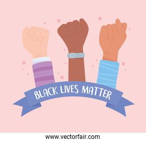 black lives matter banner for protest, raised hands fist solidarity, awareness campaign against racial discrimination