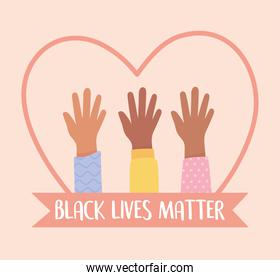 black lives matter banner for protest, raised hands diversity in heart, awareness campaign against racial discrimination