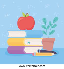 happy teachers day, apple on books pen pencil and plant cartoon