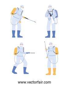 virus disinfection, stop covid-19 worker with protective suits, covid 19 coronavirus, preventive measure