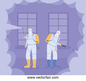 virus disinfection, workers with spray to cleaning and decontamination, covid 19 coronavirus, preventive measure