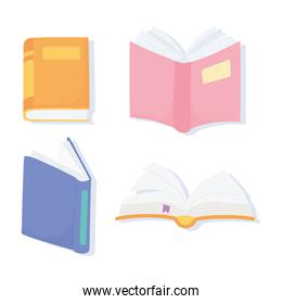 international literacy day, textbooks literature learn read icons