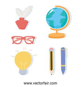 international literacy day, school map ink glasses pen pencils icons