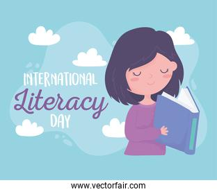 international literacy day, happy girl reading textbook education