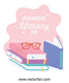 international literacy day, school books for children education and glasses