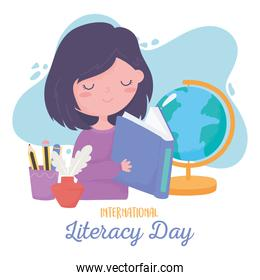 international literacy day, student girl reading book, school map pencils in cup