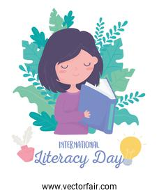 international literacy day, cute girl reading book, leaves foliage nature