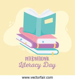 international literacy day, open book on stack of books