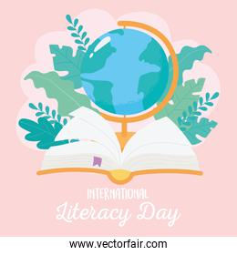 international literacy day, school globe map and book