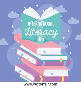 international literacy day, textbook on stack of books literature educational