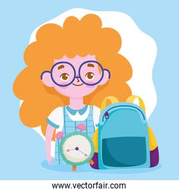 happy teachers day, student girl with backpack and clock cartoon