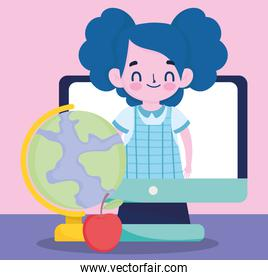 student girl in computer school map and apple