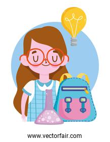 student girl with backpack and test tube