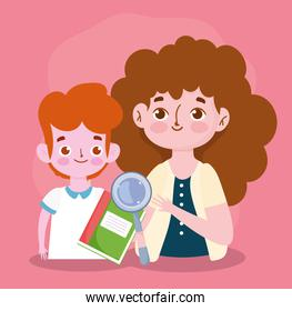 happy teachers day, teacher and student boy book and magnifier cartoon