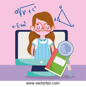 happy teachers day, student girl computer book and magnifier
