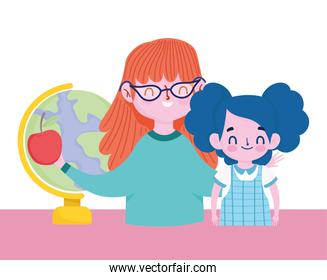 happy teachers day, teacher and student girl school map and apple