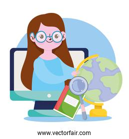 happy teachers day, teacher in computer online learn school map and book