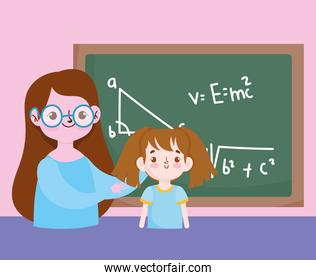 happy teachers day, teacher and student girl blackboard with lesson maths