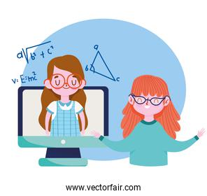 happy teachers day, teacher talking with student girl video computer