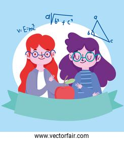 happy teachers day, teacher and student girl with glasses and apple