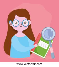 happy teachers day, teacher character magnifier and book