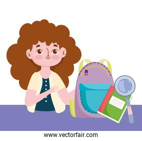 happy teachers day, teacher backpack book and magnifier
