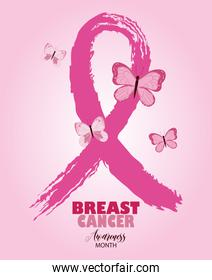 breast cancer awareness pink ribbon grunge style and butterflies vector