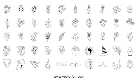 minimalist tattoo floral shapes and different icons line art on white background