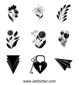 minimalist tattoo boho flowers floral decoration over white background silhouette art icons