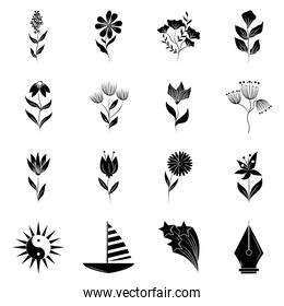 minimalist tattoo flower floral herbal nature boho silhouette art icon on white background