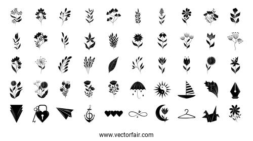 minimalist tattoo floral shapes and different icons silhouette art on white background