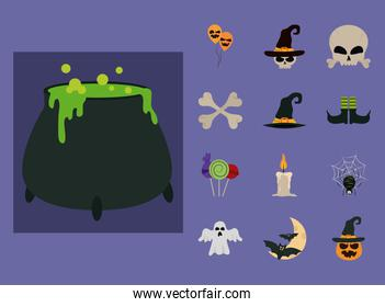 happy halloween, trick or treat celebration party flat icons style