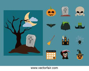 happy halloween, scary trick or treat celebration party flat icons style
