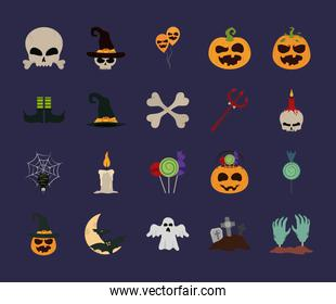 happy halloween, trick or treat celebration party october month flat icons style