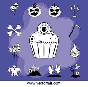 happy halloween, scary trick or treat celebration party flat icons style purple
