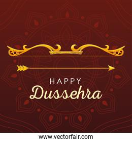 happy Dussehra greeting card with gold lettering and decoration