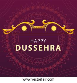 happy Dussehra festival card with gold lettering