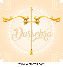 Dussehra greeting card with gold lettering and decoration