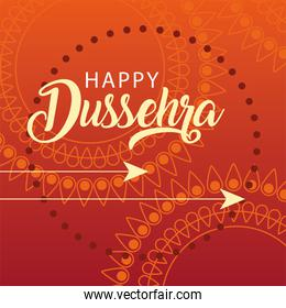 happy Dussehra greeting card with golden arrows