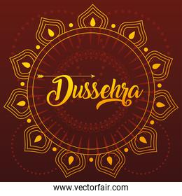 card greeting happy Dussehra with gold lettering