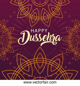 happy Dussehra label with decorative ornament