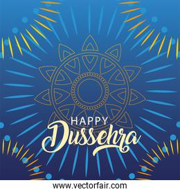 happy Dussehra label, traditional indian holiday