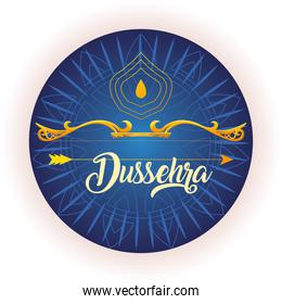 traditional bow and arrow for festival happy Dussehra on blue background