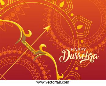 happy Dussehra label with traditional bow and arrow