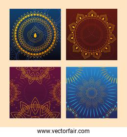 set of templates for cards, indian festival