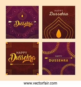 set of cards for indian festival dussehra celebration